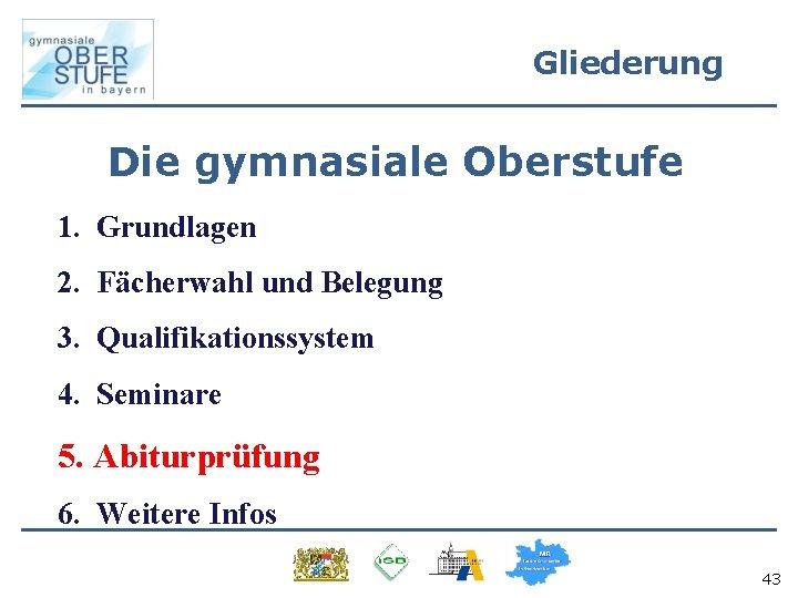 Gliederung Die gymnasiale Oberstufe 1. Grundlagen 2. Fächerwahl und Belegung 3. Qualifikationssystem 4. Seminare