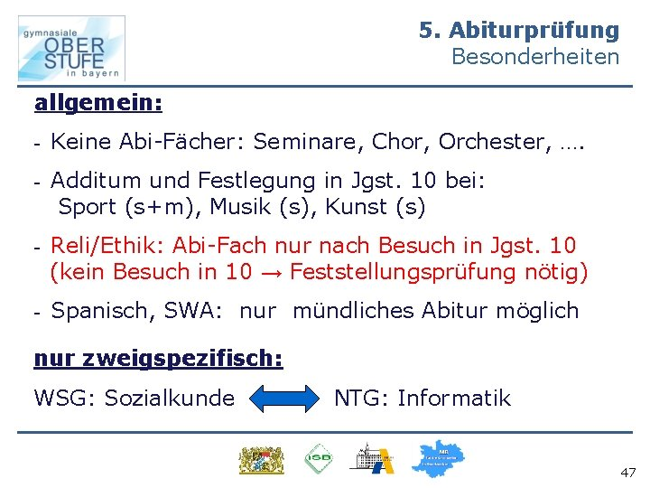 5. Abiturprüfung Besonderheiten allgemein: - Keine Abi-Fächer: Seminare, Chor, Orchester, …. - Additum und