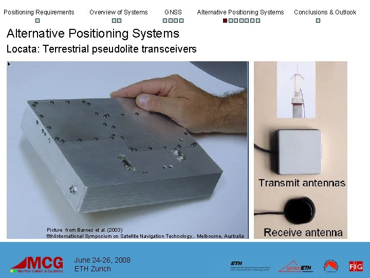 Positioning Requirements Overview of Systems GNSS Alternative Positioning Systems Locata: Terrestrial pseudolite transceivers Picture