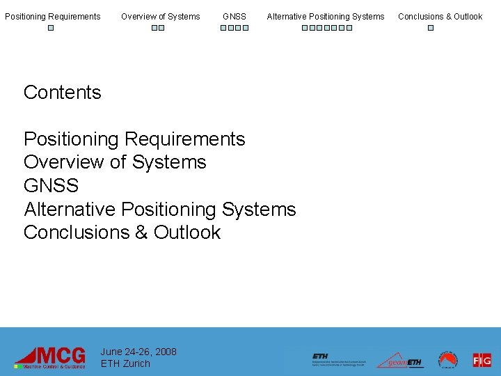 Positioning Requirements Overview of Systems GNSS Alternative Positioning Systems Contents Positioning Requirements Overview of