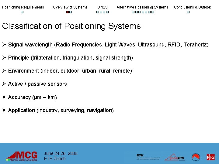 Positioning Requirements Overview of Systems GNSS Alternative Positioning Systems Conclusions & Outlook Classification of