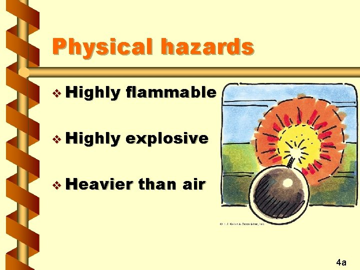 Physical hazards v Highly flammable v Highly explosive v Heavier than air 4 a
