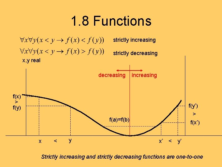 1. 8 Functions strictly increasing strictly decreasing x, y real decreasing increasing f(x) >