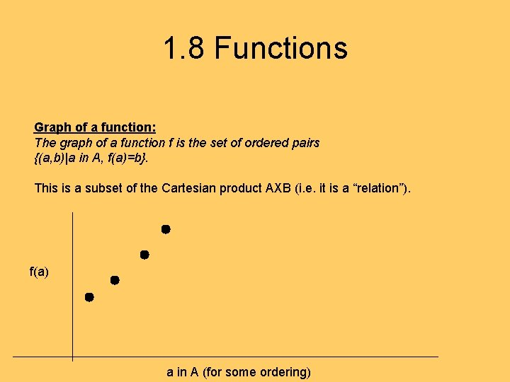 1. 8 Functions Graph of a function: The graph of a function f is