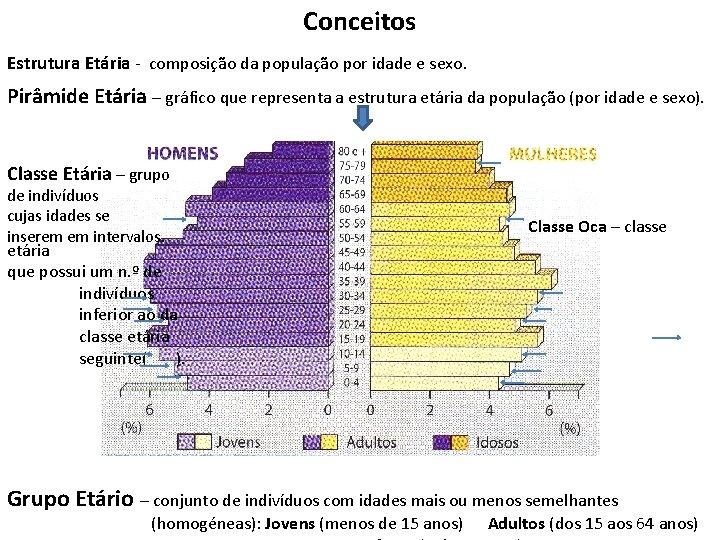 Conceitos Estrutura Etária - composição da população por idade e sexo. Pirâmide Etária –