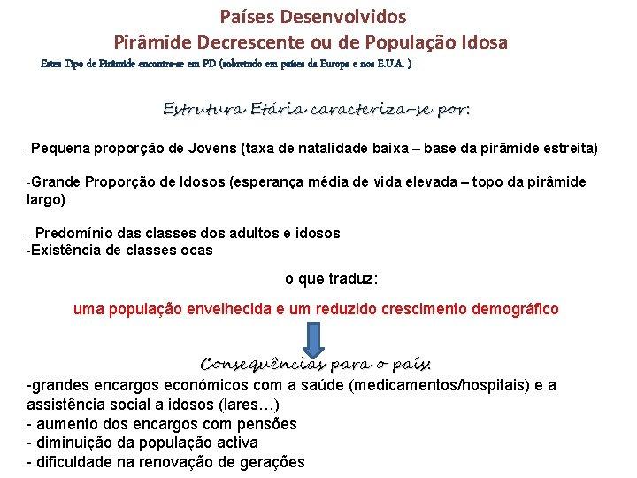Países Desenvolvidos Pirâmide Decrescente ou de População Idosa Estes Tipo de Pirâmide encontra-se em