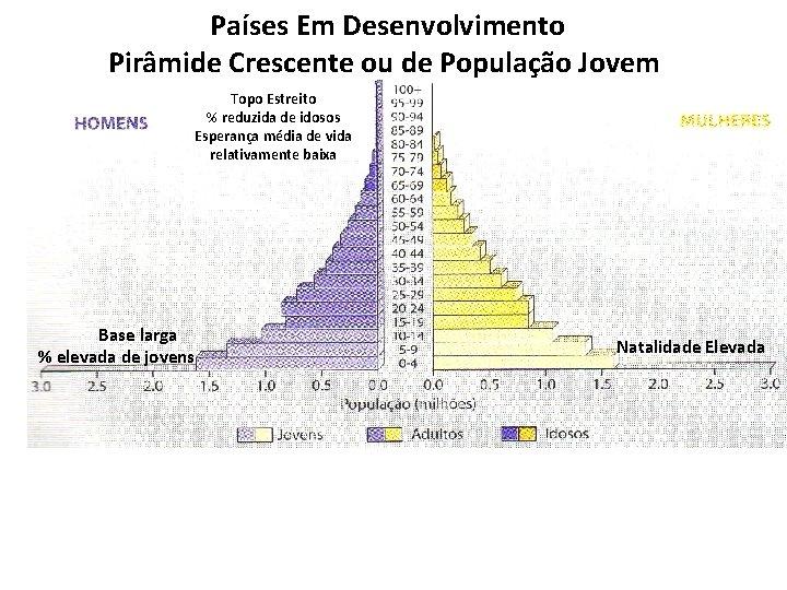 Países Em Desenvolvimento Pirâmide Crescente ou de População Jovem Topo Estreito % reduzida de