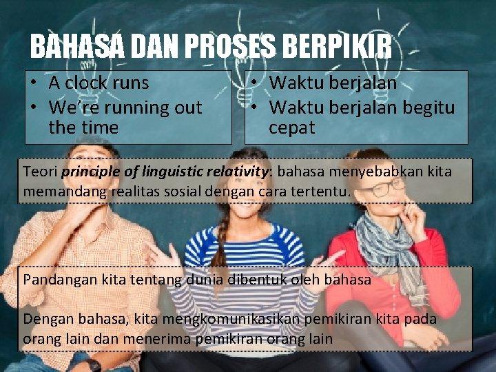 BAHASA DAN PROSES BERPIKIR • A clock runs • We're running out the time