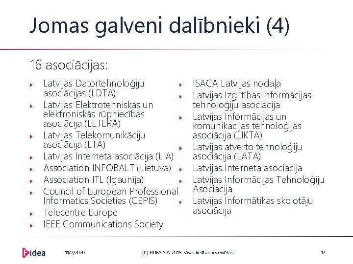 Jomas galveni dalībnieki (4) 16 asociācijas: Latvijas Datortehnoloģiju asociācijas (LDTA) Latvijas Elektrotehniskās un elektroniskās