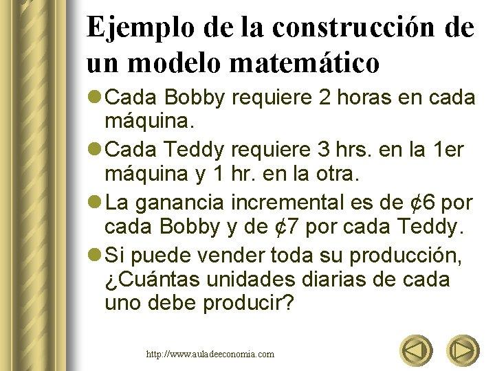 Ejemplo de la construcción de un modelo matemático l Cada Bobby requiere 2 horas