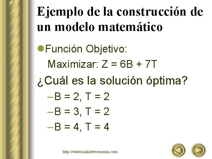 Ejemplo de la construcción de un modelo matemático l. Función Objetivo: Maximizar: Z =
