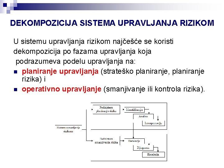 DEKOMPOZICIJA SISTEMA UPRAVLJANJA RIZIKOM U sistemu upravljanja rizikom najčešće se koristi dekompozicija po fazama
