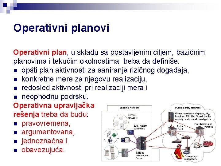 Operativni planovi Operativni plan, u skladu sa postavljenim ciljem, bazičnim planovima i tekućim okolnostima,