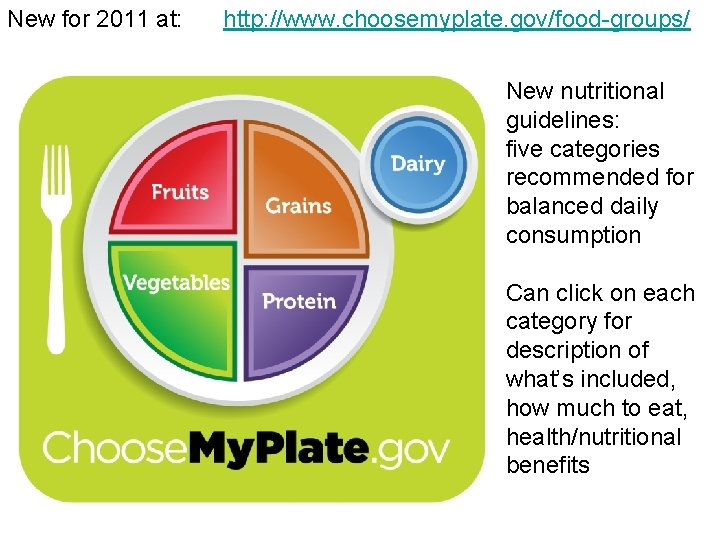 New for 2011 at: http: //www. choosemyplate. gov/food-groups/ New nutritional guidelines: five categories recommended
