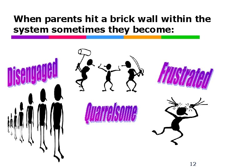 When parents hit a brick wall within the system sometimes they become: 12