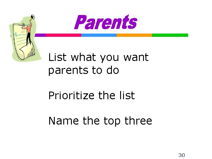 List what you want parents to do Prioritize the list Name the top three