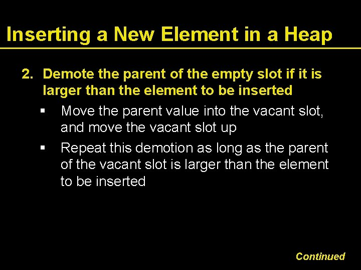 Inserting a New Element in a Heap 2. Demote the parent of the empty