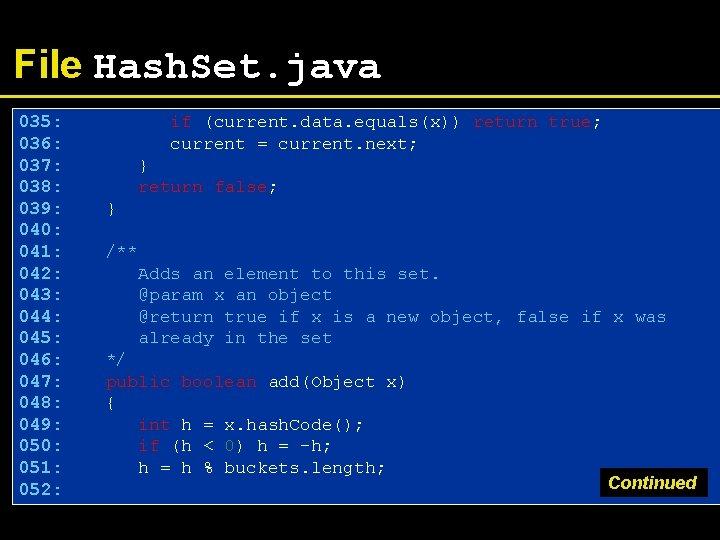 File Hash. Set. java 035: 036: 037: 038: 039: 040: 041: 042: 043: 044: