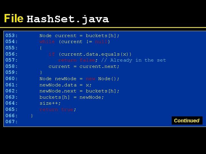File Hash. Set. java 053: 054: 055: 056: 057: 058: 059: 060: 061: 062: