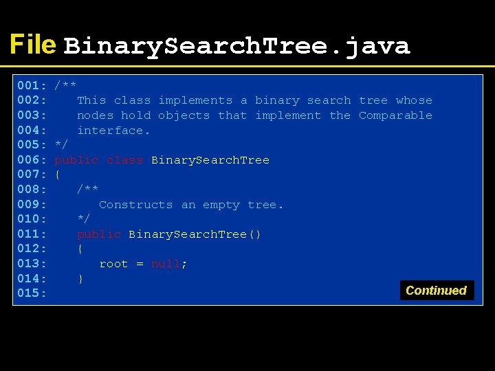 File Binary. Search. Tree. java 001: 002: 003: 004: 005: 006: 007: 008: 009:
