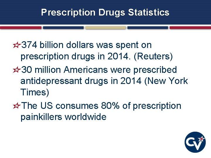 Prescription Drugs Statistics 374 billion dollars was spent on prescription drugs in 2014. (Reuters)
