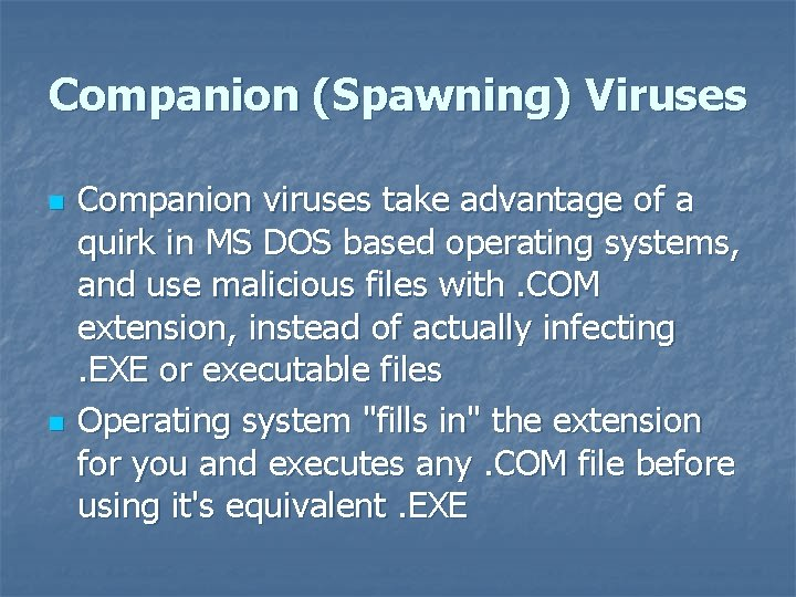 Companion (Spawning) Viruses n n Companion viruses take advantage of a quirk in MS
