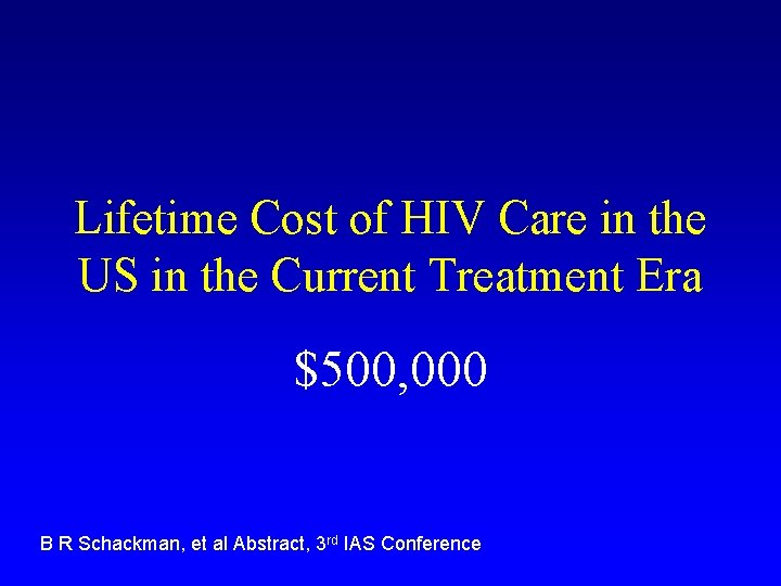 Lifetime Cost of HIV Care in the US in the Current Treatment Era $500,