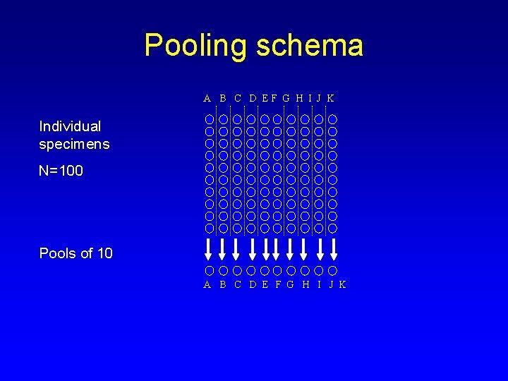 Pooling schema A B C D EF G H I J K Individual specimens