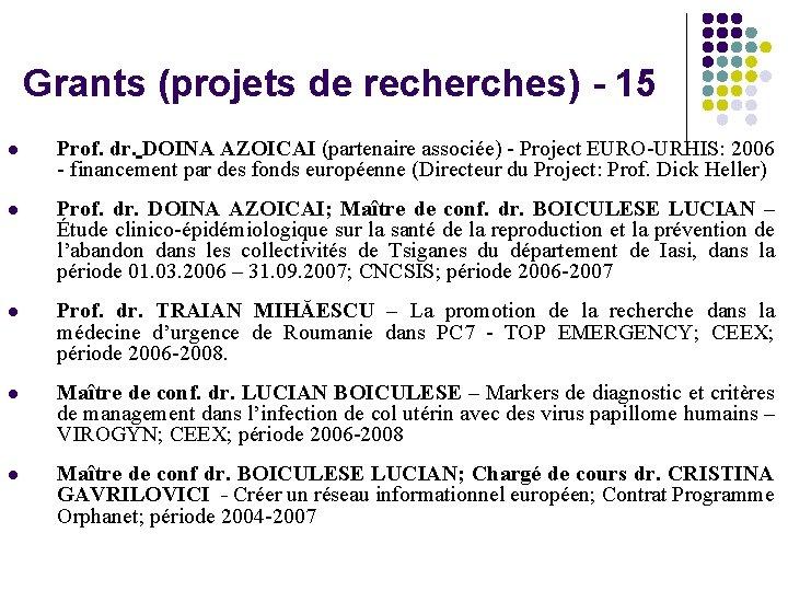 Grants (projets de recherches) - 15 l Prof. dr. DOINA AZOICAI (partenaire associée) -