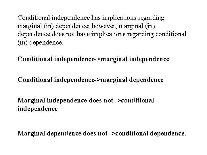 Conditional independence has implications regarding marginal (in) dependence; however, marginal (in) dependence does not