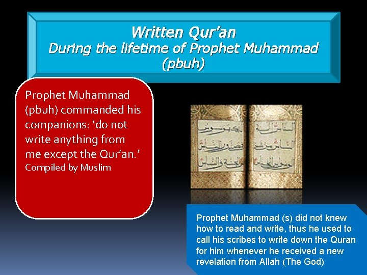 Written Qur'an During the lifetime of Prophet Muhammad (pbuh) commanded his companions: 'do not
