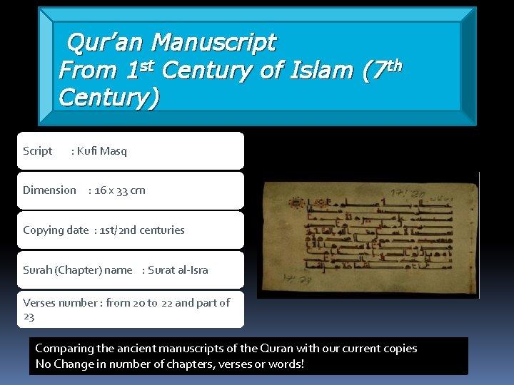 Qur'an Manuscript From 1 st Century of Islam (7 th Century) Script : Kufi