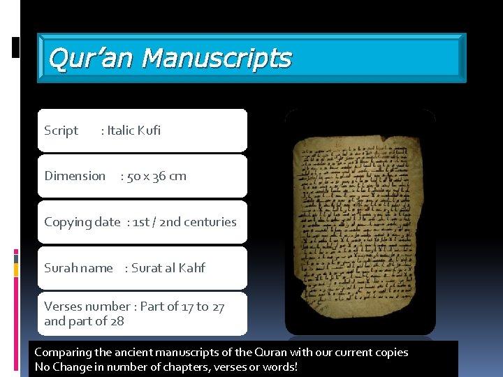 Qur'an Manuscripts Script : Italic Kufi Dimension : 50 x 36 cm Copying date