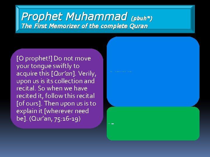 Prophet Muhammad (pbuh*) The First Memorizer of the complete Quran [O prophet!] Do not