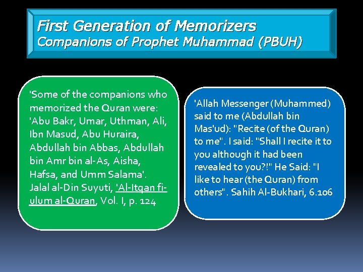 First Generation of Memorizers Companions of Prophet Muhammad (PBUH) 'Some of the companions who