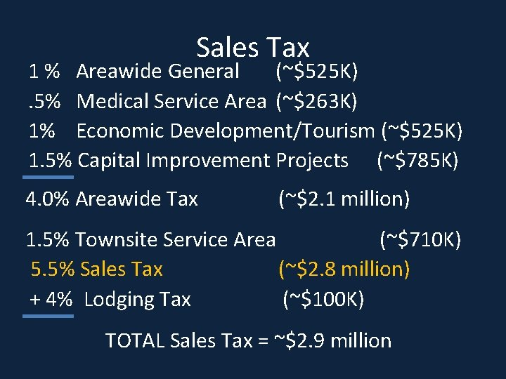 Sales Tax 1 % Areawide General (~$525 K) . 5% Medical Service Area (~$263