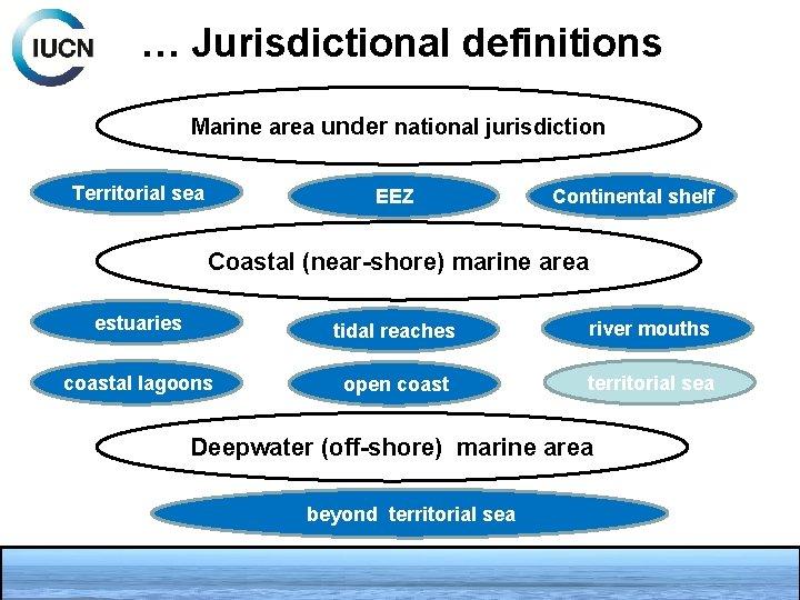 … Jurisdictional definitions Marine area under national jurisdiction Territorial sea EEZ Continental shelf Coastal