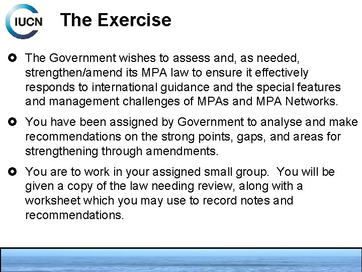 The Exercise The Government wishes to assess and, as needed, strengthen/amend its MPA law