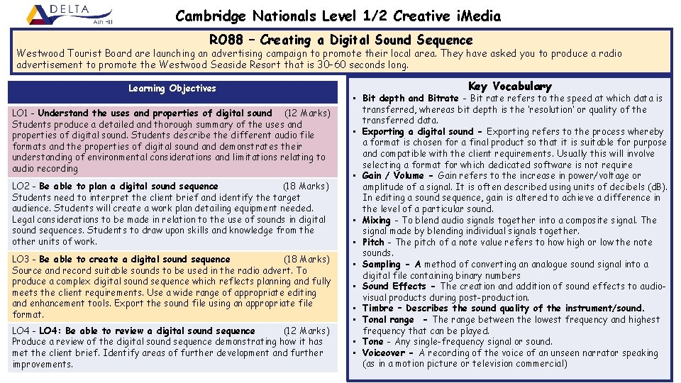 Cambridge Nationals Level 1/2 Creative i. Media RO 88 – Creating a Digital Sound