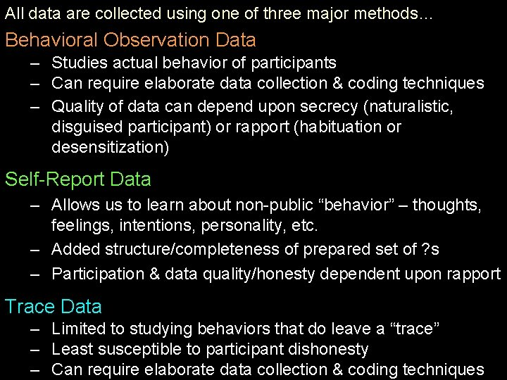 All data are collected using one of three major methods… Behavioral Observation Data –
