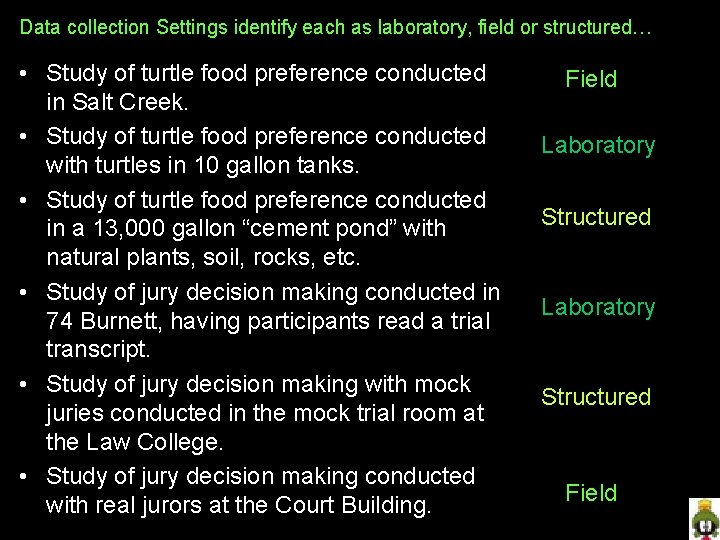 Data collection Settings identify each as laboratory, field or structured… • Study of turtle