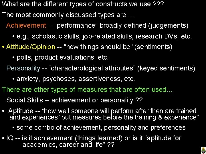 What are the different types of constructs we use ? ? ? The most