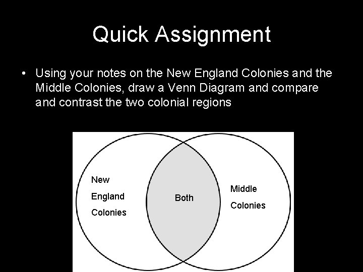 Quick Assignment • Using your notes on the New England Colonies and the Middle