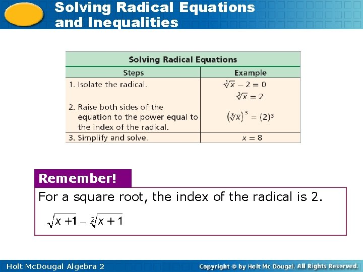 Solving Radical Equations and Inequalities Remember! For a square root, the index of the