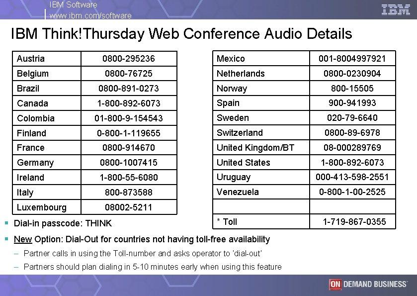 IBM Software www. ibm. com/software IBM Think!Thursday Web Conference Audio Details Austria 0800 -295236
