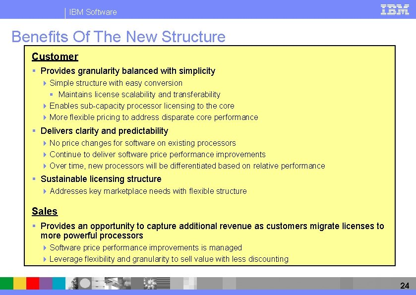 IBM Software Benefits Of The New Structure Customer § Provides granularity balanced with simplicity