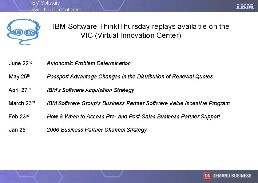 IBM Software www. ibm. com/software IBM Software Think!Thursday replays available on the VIC (Virtual