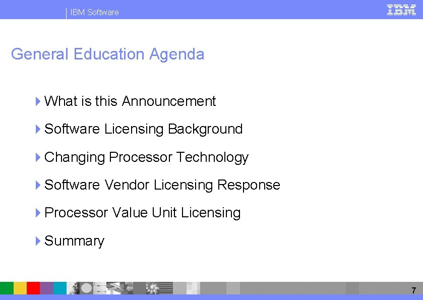 IBM Software General Education Agenda 4 What is this Announcement 4 Software Licensing Background