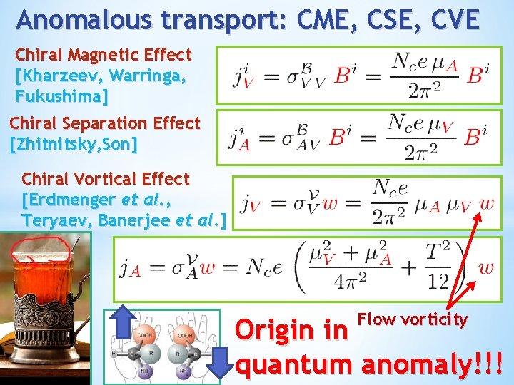 Anomalous transport: CME, CSE, CVE Chiral Magnetic Effect [Kharzeev, Warringa, Fukushima] Chiral Separation Effect