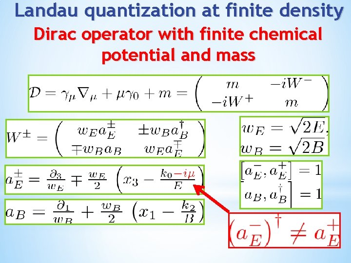 Landau quantization at finite density Dirac operator with finite chemical potential and mass